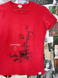 Calvin Klein Jeans Red Floral & Logo Text Graphic Tee