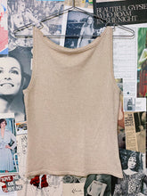 y2k Gold Sparkly Knit Tank with a High Neckline