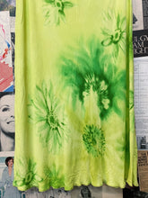 Designer Vertice Lime Green Tie Dye Daisy Floral Pencil Midi Skirt