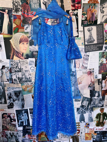 Vintage 1990s Prom Queen Baby Blue Iridescent Floral Embroiderery Gown