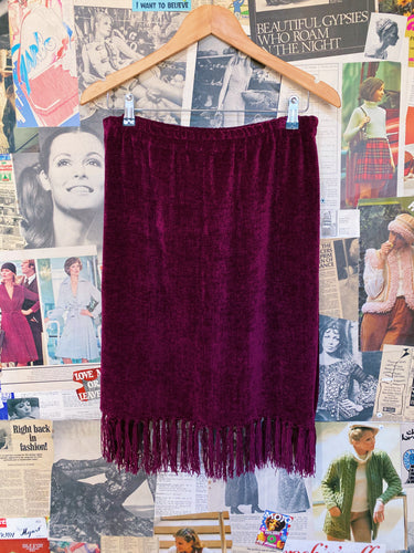 Red Wine High Waist Velvet Shakers Pencil Skirt w/ Fringed Tassels