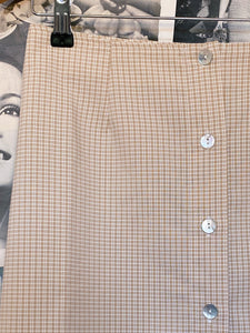 Beige Nude Check Button-up A-Line Skirt