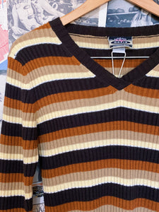 Warm Autumn Tones Striped V Neck Knit Jumper