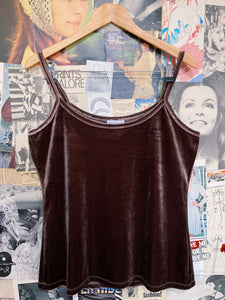 Designer Queenspark Dirty Wine Velvet Singlet Cami