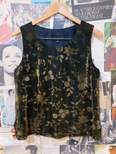 Vintage 1990s Gold Metallic Iridescent Floral Print Sleeveless Box-cut Tank Top