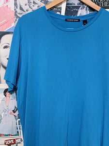 Oversized Teal Cotton Crew Neck T-Shirt