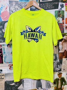 Neon Yellow Hawaii Frangipani Surfboards Graphic Tee