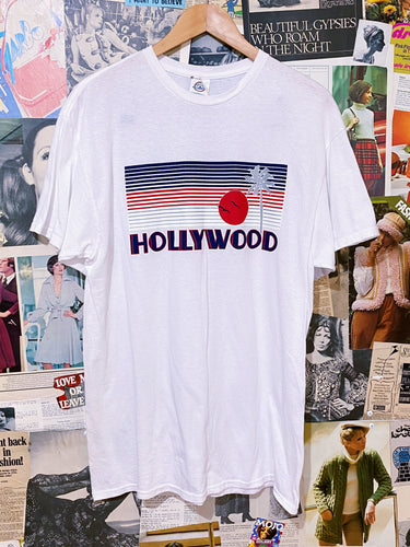 Hollywood Palm Tree & Sunset Graphic Tee T-Shirt
