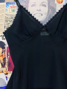 Vintage 1990s George's Lingerie Black Sheer Slip Dress