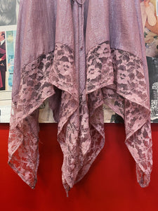 Rose Mauve Lace Corset Princess Waistband Handkerchief Dress