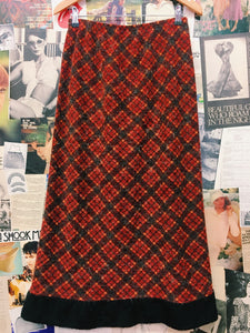Fuzzy Plaid Skirt with Fur Trim