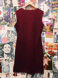 Vintage Wine Red Dress w/ Lace Collar & Hem