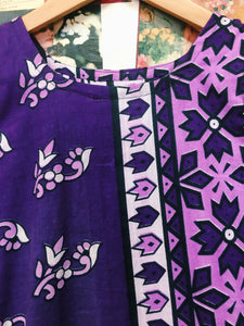 One of a Kind Retro 1970's Inspired Boho Purple Batik Tank Top