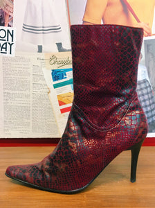 1990's Meteor Red Snakeskin Boots
