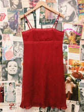 1990's Red Mesh Frilled Dress