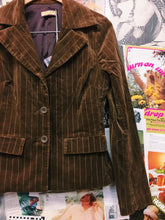Review Chocolate Brown Striped Velvet Blazer & Wide Flares Suit Co-Ord