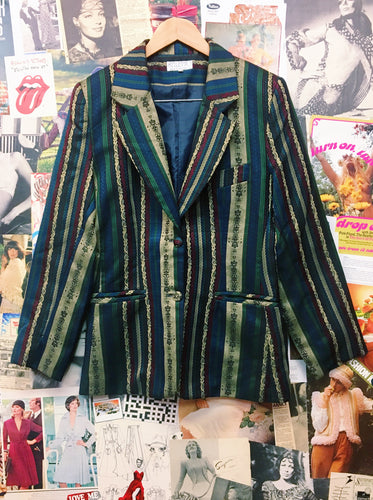 Vintage 1990s Stiletto Striped Brocade Blazer