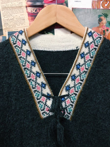 Vintage 1970s Bohemian Block Pattern Border Collar & Cuffs Grey Knit Sweater