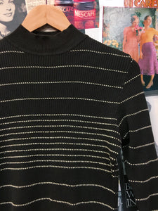 Carol by Mexx 100% Cotton Chocolate Brown Knitted Striped Turtleneck Cropped Jumper