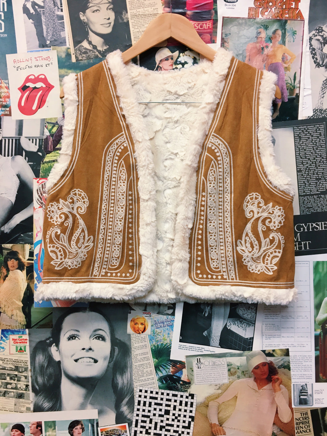 Retro 1970's Inspired Bohemian Faux Fur Embroidered Stitching Vest