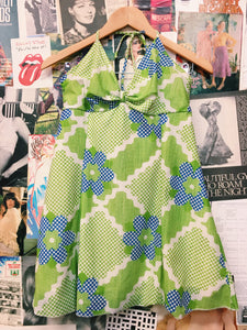 Vintage Flower Power Neon Halter Neck Dress