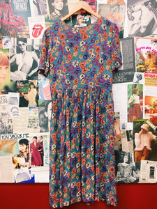 Autumn Button-Up Floral Maxi Dress