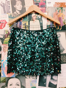 Emerald Mermaid Scales Sequin Mini Skirt