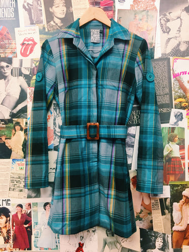Shona Joy Multicolour Plaid Collared Trench Coat