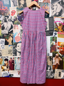 Vintage 1980s/1990s Link Up Babydoll Hot Pink Checkered Button-up Maxi Dress