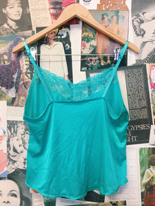 Aqua Satin Lace Trim Cami