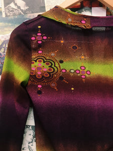 Designer Sinéquanone Made in France Psychedelic Flower Power Frilled Collared Top