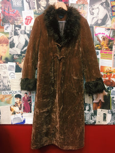 Faux Fur Collar & Cuffs Crushed Velvet Penny Lane Full Length Coat