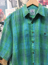 Vintage 1970s Gendera Casuals Neon Green & Blue Button-up Shirt