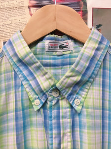 Lacoste Blue & Green Plaid Collared Shirt w/ Crocodile Logo