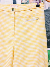 Vintage High Waist Yellow Check Straight Leg Pants