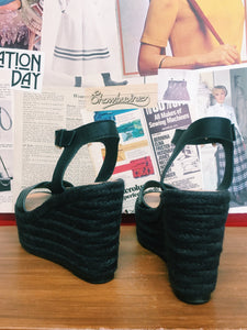 Leather Chunky Platform Crochet Sandals
