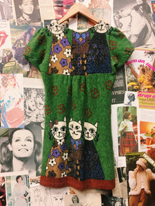 Retro Cat & Flower Power Knitted Smock Dress
