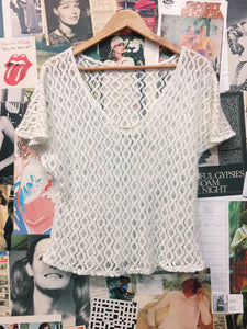 White Crochet Knit V-Neck Butterfly Bell Sleeve Top