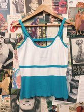 Vintage Christine Phillipe L'image Spaghetti Strap White & Turquoise Knit Cami w/ Bead Details