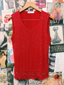 GuGi Festival Red Sequin Mesh Top