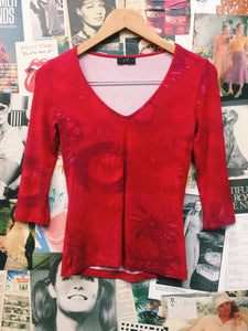 Red Tie Dye 3/4 Sleeve Top
