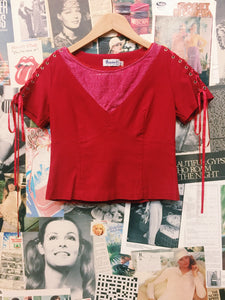 y2k Red Corset Sleeve Top w/ Lace Bib