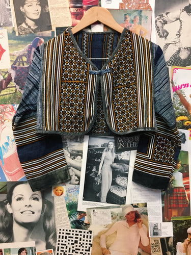 Vintage Retro 1970s Tribal Navajo Embroidered Textured Cropped Bolero