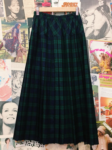 1980's Plaid Pleated Maxi Skirt