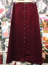 Red Wine Button-up Maxi Skirt