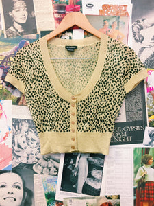 Metallic Leopard Print Button-up Crop Top