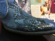 Mens Blue Snake Skin Print Leather Boots
