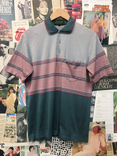 Vintage Retro 1970s Striped Pattern Collared Polo T-shirt