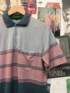 Vintage Retro 1990s Golf Striped Pattern Collared Polo T-shirt