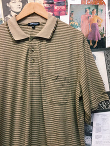 Vintage Retro Yellow Striped Collared Polo T-Shirt